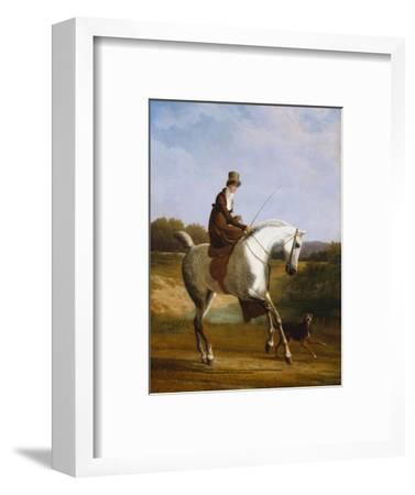 Miss Cazenove on a Grey Hunter, a Dog Running Alongside