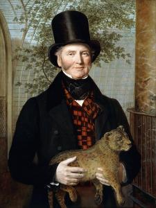 Portrait of Edward Cross, Half-Length, in a Black Coat and Red-Check Waistcoat Holding a Lion Cub by Jacques-Laurent Agasse