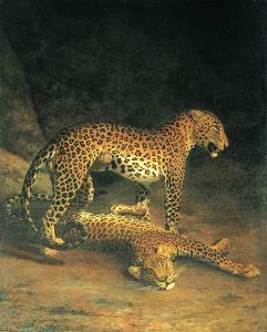 Two Leopards Playing by Jacques-Laurent Agasse