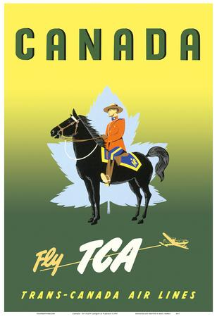 Canada - Fly TCA (Trans-Canada Air Lines) - Royal Canadian Mounted Police on Horseback