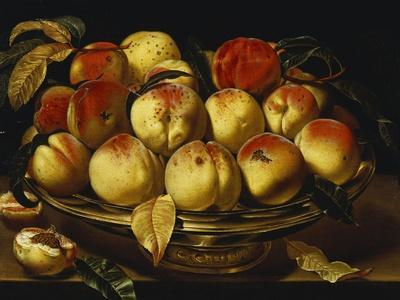 Peaches in a Silver-Gilt Bowl on a Ledge