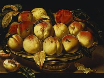 Peaches in a Silver-Gilt Bowl on a Ledge by Jacques Linard