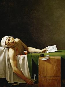 Jean Paul Marat, politician and publicist, dead in his bathtub, assassinated in 1793. by Jacques Louis David