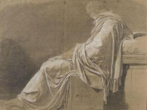 """Seated, Drapery Study (Plato for """"Death of Socrates"""") by Jacques-Louis David"""