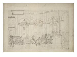 """Study Perspective for the """"Coronation of Napoleon I."""" by Jacques-Louis David"""