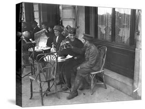 Soldiers Drinking on a Cafe Terrace by Jacques Moreau