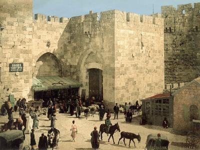 Jaffa Gate, from Outside the Walls with Donkeys and People in Front of the Gate, C.1880-1900--Photographic Print