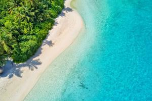 Aerial Photo of Beautiful Paradise Maldives - Tropical Beach on Island by Jag_cz