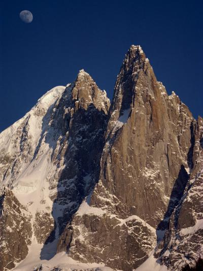 Jagged Peak of Aiguille Du Dru and the Moon, Chamonix, Rhone Alpes, France, Europe-Hart Kim-Photographic Print