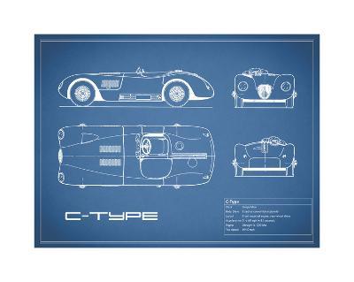 Jaguar C-Type-Blue-Mark Rogan-Giclee Print