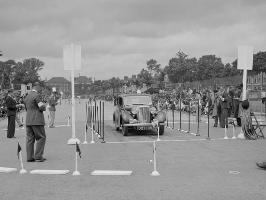 Jaguar SS saloon of HT Lewis competing in the South Wales Auto Club Welsh Rally, 1937-Bill Brunell-Photographic Print