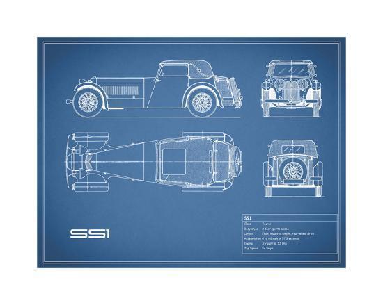 Jaguar SS1-Blue-Mark Rogan-Giclee Print