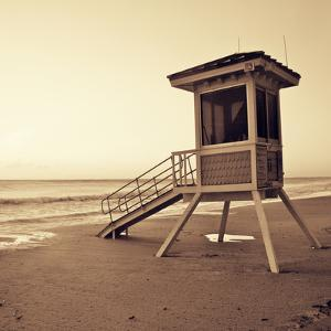 Sepia Life Guard Tower I by Jairo Rodriguez