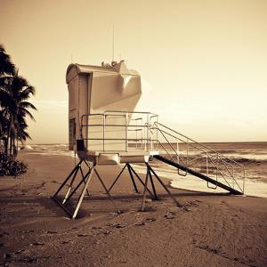Sepia Life Guard Tower II by Jairo Rodriguez