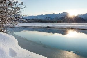 The Chilkat River with Heavy Snow and Mountains in the Background by Jak Wonderly