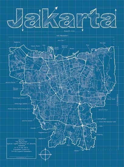 jakarta artistic blueprint map art print by christopher estes art com