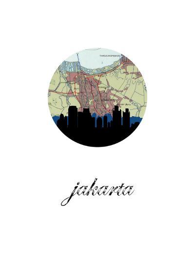 Jakarta Map Skyline--Art Print