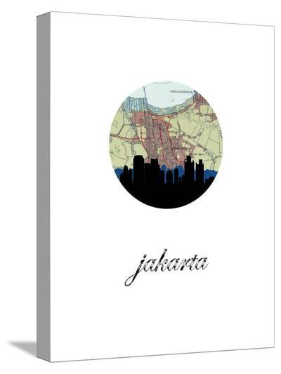 Jakarta Map Skyline-Paperfinch 0-Stretched Canvas Print
