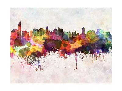 Jakarta Skyline in Watercolor Background-paulrommer-Art Print