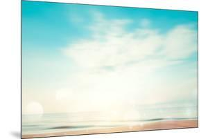 A Seascape Abstract Beach Background. Panning Motion Blur and Bokeh Light of Lens Flare, Pastel Col by jakkapan