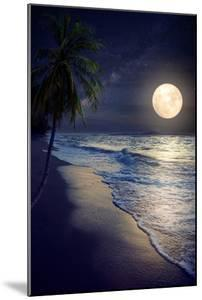 Beautiful Fantasy Tropical Beach with Milky Way Star in Night Skies, Full Moon - Retro Style Artwor by jakkapan