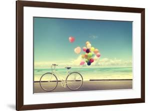 Bicycle Vintage with Heart Balloon on Beach Blue Sky Concept of Love in Summer and Wedding by jakkapan
