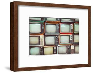 Pattern Wall of Pile Colorful Retro Television (Tv) - Vintage Filter Effect Style. by jakkapan