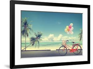 Vintage Bicycle with Balloon on Beach by jakkapan