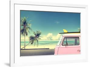 Vintage Car in the Beach with a Surfboard on the Roof by jakkapan