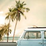 Vintage Card of Car with Colorful Balloon on Beach Blue Sky Concept of Love in Summer and Wedding H-jakkapan-Photographic Print