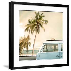 Vintage Car Parked on the Tropical Beach (Seaside) with a Surfboard on the Roof by jakkapan