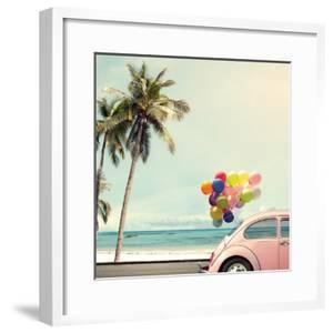 Vintage Card of Car with Colorful Balloon on Beach Blue Sky Concept of Love in Summer and Wedding H by jakkapan