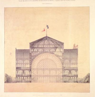 Cast Iron and Glass Industrial Pallet for the Champs-Elysees, Cross-Section, 1852