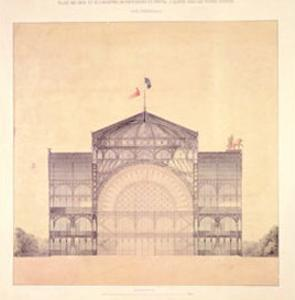 Cast Iron and Glass Industrial Pallet for the Champs-Elysees, Cross-Section, 1852 by Jakob Ignaz Hittorff