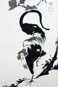 A Rooster Sumi on Paper by Jakuchu Ito