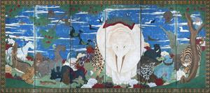 Birds, Animals, and Flowering Plants in Imaginary Scene 1 by Jakuchu Ito