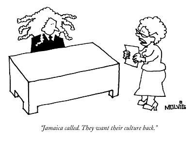 """""""Jamaica called. They want their culture back."""" - New Yorker Cartoon-Ariel Molvig-Premium Giclee Print"""