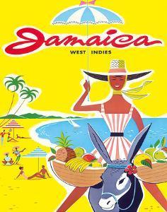 Jamaica - West Indies - Caribbean - Jamaican Beach Fruit Vendor on Donkey
