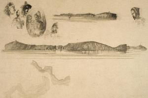 Sketches on the Coast Survey Plate by James Abbott McNeill Whistler