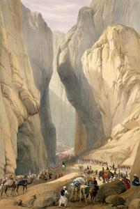 """Entrance to the Bolan Pass from Dadur, from """"Sketches in Afghaunistan"""" by James Atkinson"""