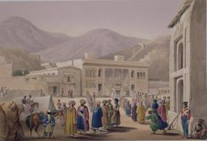 """The Durbar-Khaneh of Shah Shoojah-Ool-Moolk, at Caubul, from """"Sketches in Afghaunistan"""" by James Atkinson"""