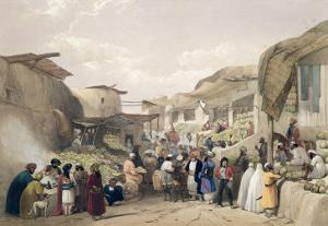 The Main Street in the Bazaar at Caubul, Fruit Season, Sketches in Afghaunistan, Engraved Haghe by James Atkinson