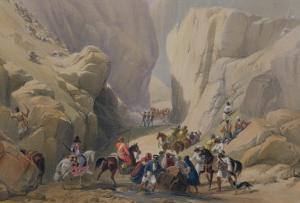 """The Opening into the Narrow Pass Above the Siri Bolan, from """"Sketches in Afghaunistan"""" by James Atkinson"""