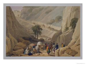 The Troops Emerging from the Narrow Part of the Defile in the Koojah Pass by James Atkinson