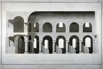 Longitudinal Section of St John's Chapel in the White Tower, Tower of London, 1815
