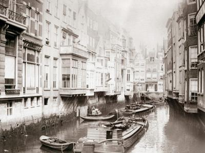 Boats on the Canal, Amsterdam, 1898 by James Batkin