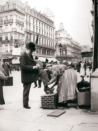 Woman Polishing Shoes, Brussels, 1898 by James Batkin