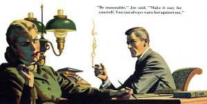 """To Live Forever  - Saturday Evening Post """"Men at the Top"""", April 18, 1953 pg.21 by James Bingham"""