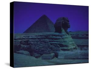 Sphinx and Great Pyramid at Giza, in Moonlight, Egypt by James Burke