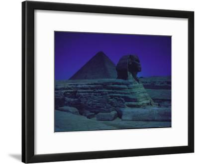 Sphinx and Great Pyramid at Giza, in Moonlight, Egypt